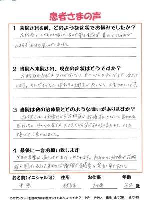 米原さんのアンケートスキャン画像